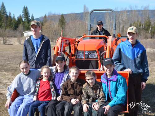 Kubota tractor with kids