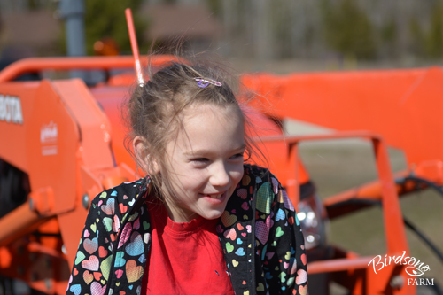 Kubota tractor with girl